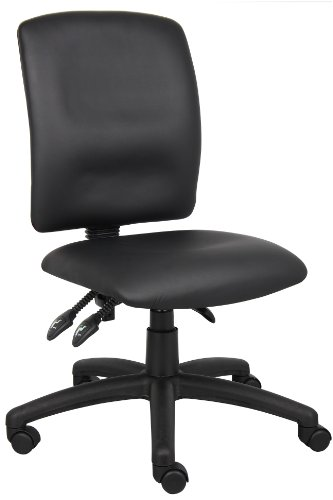 Boss Office Products B3045 Multi-Function LeatherPlus Task Chair without Arms in Black For Sale