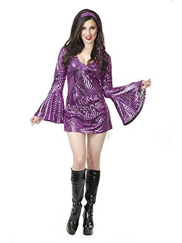 Charades Women's Plus Size Psychedelic Swirl Disco Diva Costume Dress, -