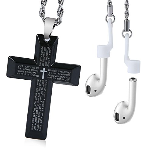 - Magnetic Strap Necklace, Aolvo 2 in 1 Stainless Steel Anti Lost String Sports Strap Wire Cable Connector with Cross Pendant Lord' S Prayer for IPhone X / 8 / 8 Plus Airpods