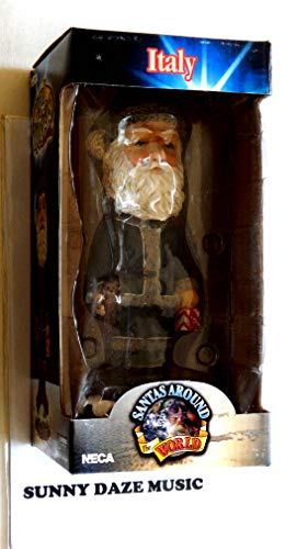 Santa Claus Decorative Hand Painted Heavy Porcelain Head Knocker Bobble - Italy Befana - Santas Around The World Collection - Weighs 2 Pounds