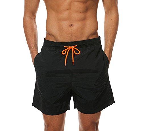 Ehpow Men's Beach Shorts Quick Dry Waterproof Sports Shorts Bathing Suit Swim Trunks, Black, Large by Ehpow