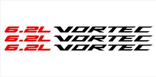 Red 6.2 Liter Silver Vortec Hood Cowl Vinyl Decal Emblem Fits Chevy Silverado GMC Sierra - Cowl Emblem
