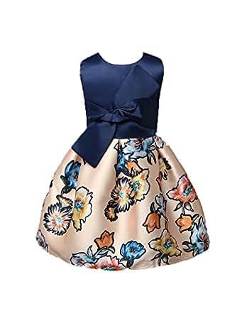 Shiny Toddler Girls' A Line Floral Printing Flower Girl Birthday Dress Blue 2t