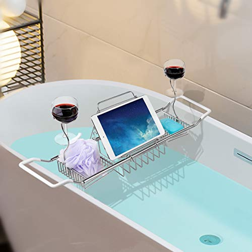 iPEGTOP Stainless Steel Bathtub Caddy Tray - Over Bath Tub Racks Shower Organizer with Extending Sides, Removable Wine Glass Book Holder