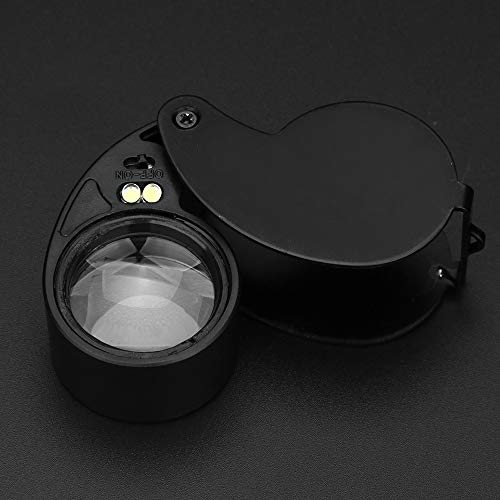 Hisoul Hot  Multifunctional Mini LED Magnifier, 40X Folding Pocket Magnifier with 2 White LED Light Round Swing-Away Chrome Magnifier Perfect for Watch Stamps Jeweler Diamond (Black) by Hisoul (Image #4)