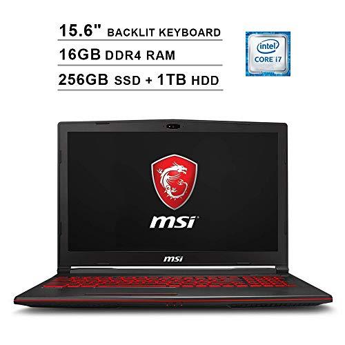 2020 Newest MSI GL63 15.6 Inch FHD Gaming Laptop (8th Gen Inter 6-Core i7-8750H up to 4.1GHz, 16GB DDR4 RAM, 256GB SSD (Boot) + 1TB HDD, NVIDIA GeForce GTX1650 4GB, Backlit Keyboard, Windows 10)