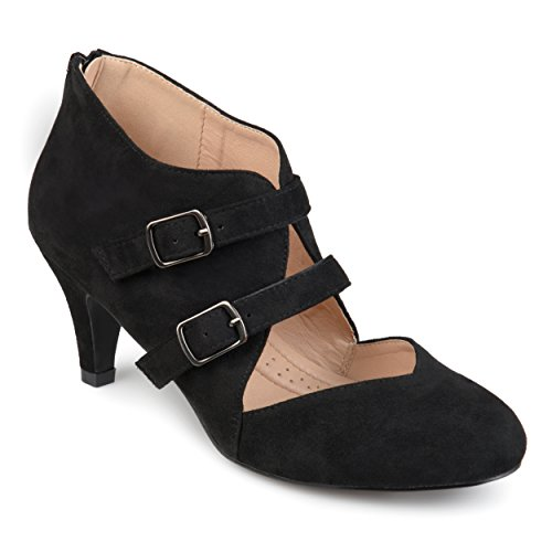 Journee Collection Womens Comfort-Sole Dual Buckle Sweetheart Toe Heels Black, 5.5 Regular US