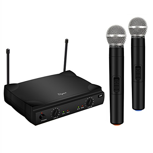 ELEGIANT Dual Wireless Microphone System - Professional Home KTV Set - Portable 2-Channel Microphone Karaoke Kit VHF