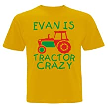 Edward Sinclair Big Boys' Personalised Tractor Crazy With Name T-Shirt