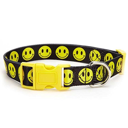 Casual Canine Smiley Face Collar, 10 to 16-Inch, Black