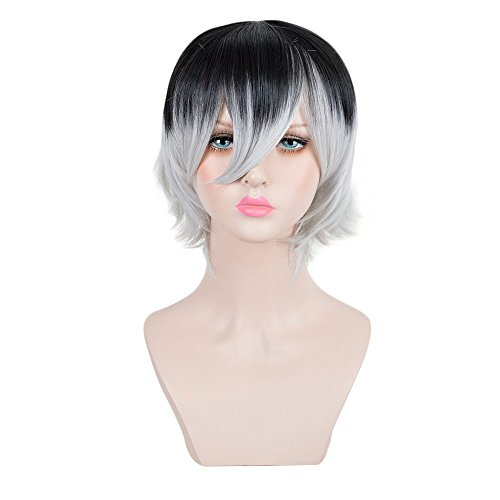 Andao 11Inches Short Pixie Crop Spikey Cut Hair Bob Wigs Wig for Tokyo Ghoul Sasaki Haise Halloween Cosplay wig(Black + white)
