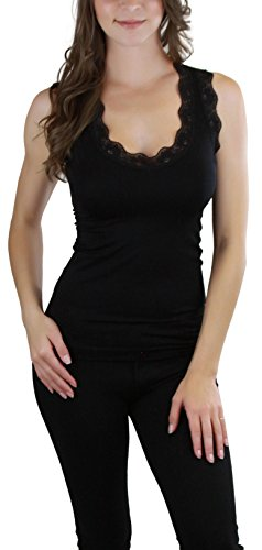 ToBeInStyle Women's Racerback Lace Tank Top - Black - One Size - Womens Racerback Top