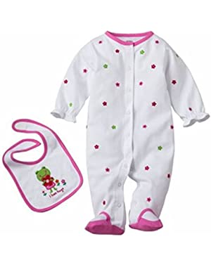 White I love Hugs Sleeper and Bib Set 6 Months