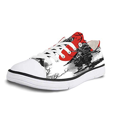 - Canvas Sneaker Low Top Shoes,Japanese Portrait of Skilled Educated Aristocrat Ancient Knight with Weapon Man of War Image Women 10/Man 7
