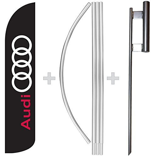 New Audi Windless Full Sleeve Swooper Feather Flag, Flagpole, & Ground Spike Kit for sale