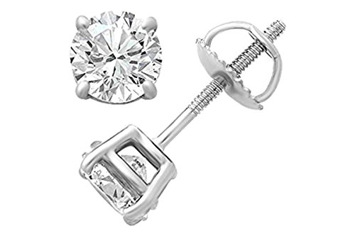 ertified White Natural Diamond Solitaire Stud Earrings In 14K Solid White Gold (0.50 Cttw, I-J Color, I1-I2 Clarity) ()