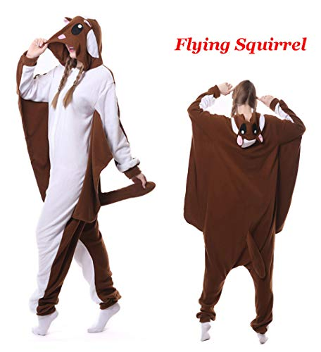 Unisex Animal Onesie Adult Pajamas Halloween Cosplay Costume Cartoon Sleepwear Outfit (S, Brown Flying Squirrel) -