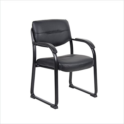 Boss Office Products B9519 Leather Sled Base Side Chair with Arms in Black by Boss Office Products