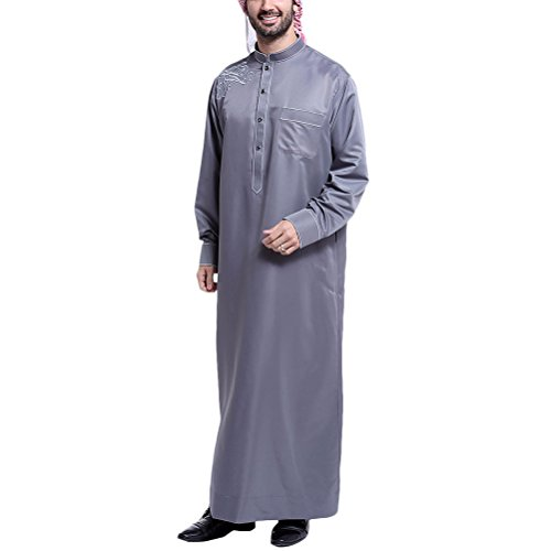 Costume Abaya Zhhlinyuan East Gray Mens Saudi Dress Style Party Middle Sleeve Casual Muslim Arab Islamic Long Robes Dark xqZrXqw4p