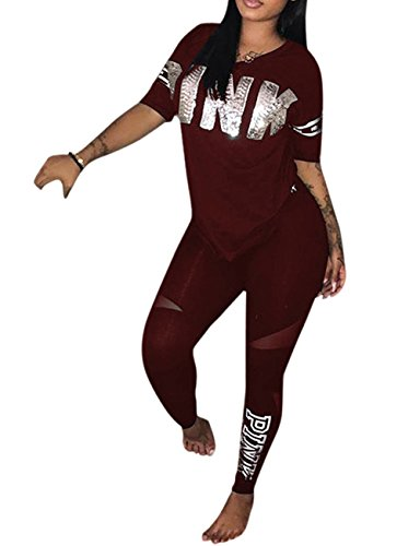 Lkous Womens Letter Printed 2 Pieces Outfits Short Sleeve T Shirt Tops And Skinny Long Pants Set Sweatshirt Red Xxl