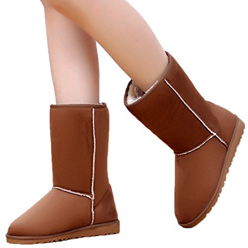 Slip Camel Fur HooH Warm Faux Snow Boots Women Thicken Winter Mid Simple Boots Calf On 6Bzcq