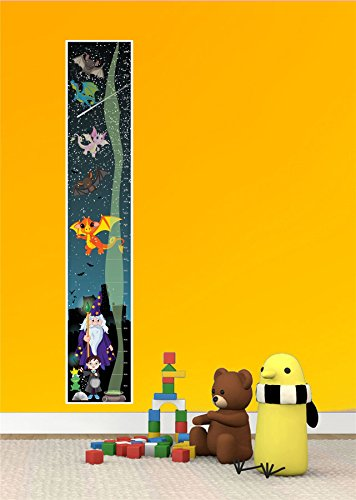 WIZARD MAGIC DRAGON BOYS GIRLS KIDS BEDROOM TALL CANVAS HEIGHT CHART - Mail Royal Next Guaranteed Delivery Day