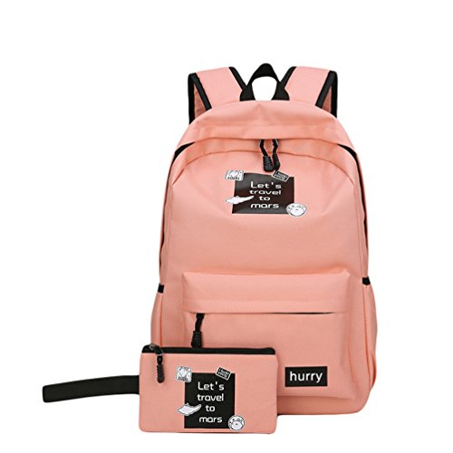 Xinwcang Mochila para Portátil para Hombre y Mujer,Casual Colegio Mochilas Bolso de Mano Cartera Escolar Aire Libre Viajes Pink1