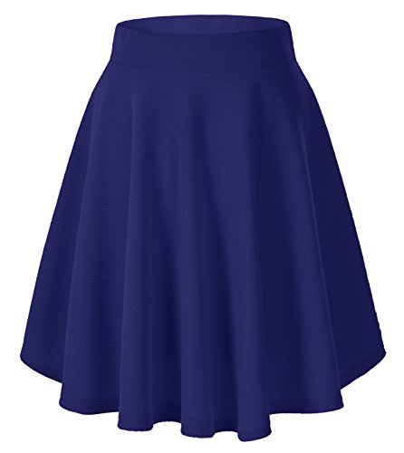 (Urban CoCo Women's Basic Versatile Stretchy Flared Casual Mini Skater Skirt (X-Large, Royal Blue-Long))