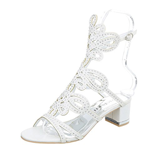 Ital-Design High Heel Sandaletten Damenschuhe Pump Riemchen Schnalle Sandalen Weiß JC-176