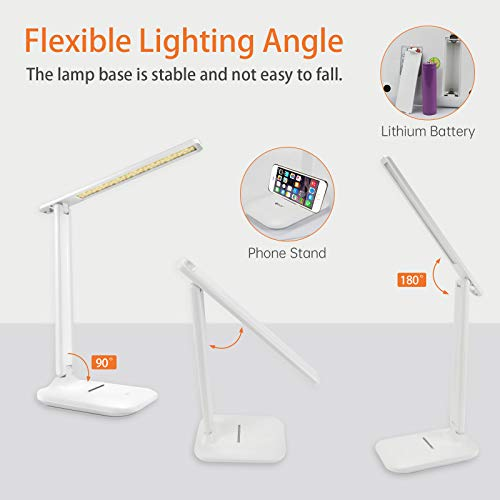 ZOROSS Dimmable LED Desk Lamp ZO-870, Color Temp 2800K - 5500K Adjustable, Eye-Caring Table Lamp with 5 Brightness Level, Foldable Reading Lights Touch Sensitive Control with 2 Power Supply Modes
