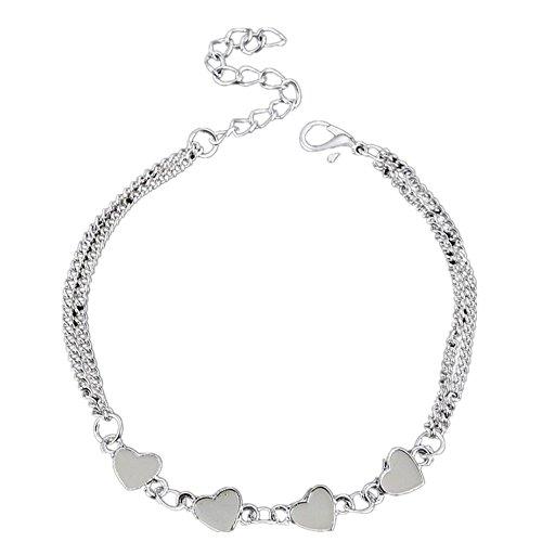Leyorie Luminous Bangle, Women Night Silver Jewelry Personality Girls Chain Link Bracelet Adjustable (Heart)