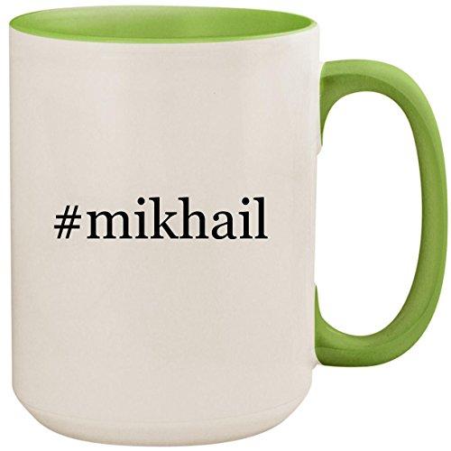 #mikhail - 15oz Ceramic Colored Inside and Handle Coffee Mug Cup, Light Green (Mikhail Shishkin The Light And The Dark)