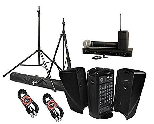Fender Passport Event Portable PA System Bundle with Shure BLX1288/CVL Combo Wireless Microphone System and Accessories (5 items)