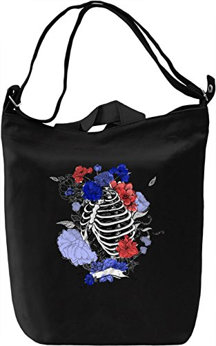 Skeleton And Flowers Borsa Giornaliera Canvas Canvas Day Bag| 100% Premium Cotton Canvas| DTG Printing|