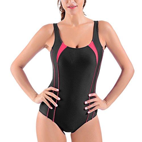 Zhuhaitf Alta calidad Women's Comfortable Built-in Cup Elastic Slim Athletic Swimsuit Swim Costume Black