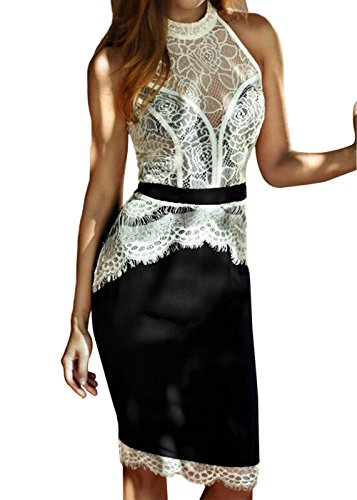 Mujer de encaje Vintage Bodycon cóctel de noche formal Evening Dress Negro