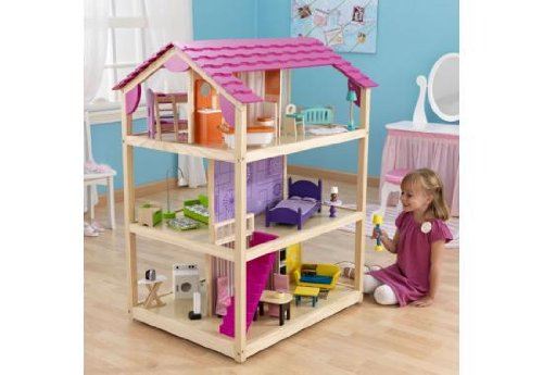 KidKraft So Chic Deluxe Pretend Play Dollhouse w/ Furniture & Doll Family by KidKraft