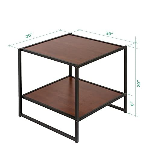 Zinus Modern Studio Collection Set of Two 20 Inch Square Side/End Tables/Night Stands