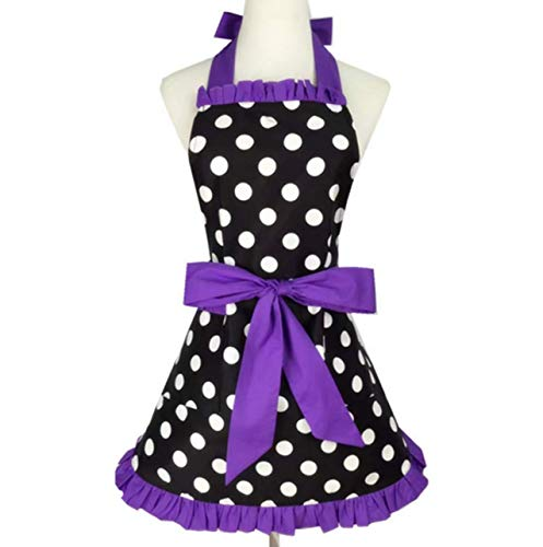 LIDE Lovely Sweetheart Retro Kitchen Aprons Woman Cotton Polka Dot Antifouling Cooking Flirty Apron with Pocket, Purple