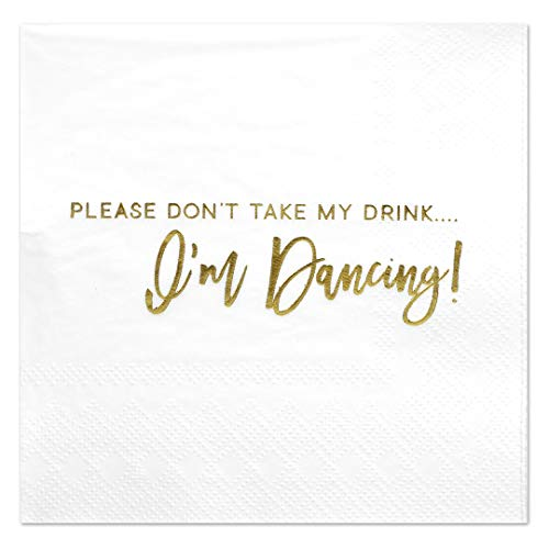 Andaz Press Dont Take My Drink, Funny Quotes Cocktail Napkins, Gold Foil, Bulk 50-Pack Count 3-Ply Disposable Fun Beverage Napkins for Birthday Party, Holiday, Christmas, New Years Eve Bar