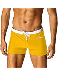 897f348207 Mens Swim Trunks Board Short Swimming Athletic Box Swimwear Briefs with  Zipper Pockets