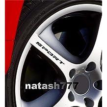 DECALS USA Sport Decal Sticker Wheels Rims Racing Car Sticker Emblem Logo 4 PCS (Black)