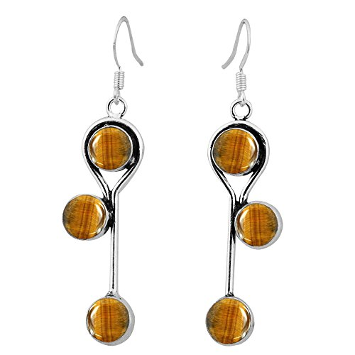 8.50ctw, Genuine Tiger Eye & 925 Silver Plated Dangle Earrings Made By Sterling Silver Jewelry ()