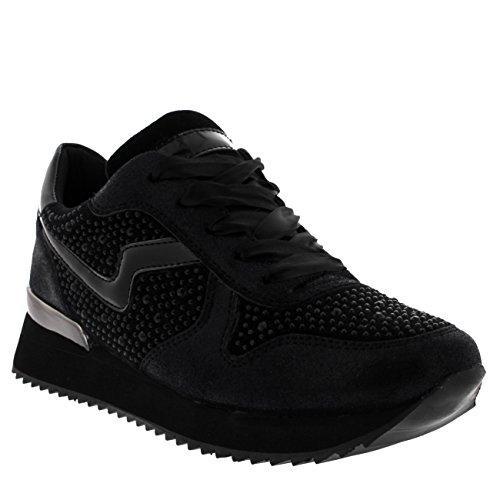 Femmes Pompes Léger Festival Confortable Mode Diamante Sneakers Noir / Noir