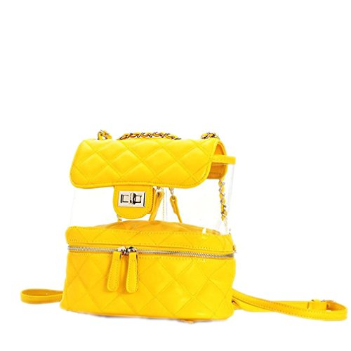 Women Jelly Geometry Backpack PVC Mini Clear Travel Backpack Hand Bags Yellow
