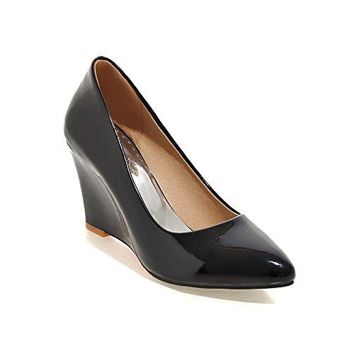 AgooLar Damen Hoher Absatz Eingelegt Ziehen auf Lackleder Spitz Zehe Pumps Schuhe, Rot, 42