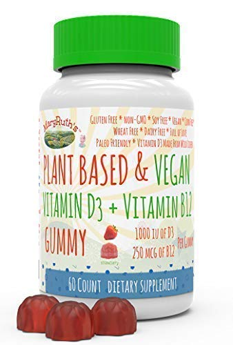 Vegan Vitamin D3+B12 Gummy (Plant-Based Gummies) by MaryRuth's | Made w/Organic Ingredients Non-GMO Vegan Paleo Gluten Free for Men, Women & Kids 1000 IU Vitamin D3 & 250 mcg Vitamin B12 60 Count