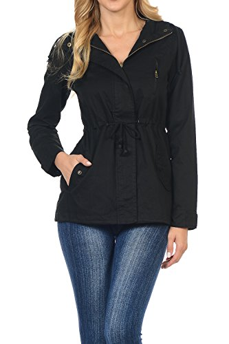 Women's Versatile Military Safari Utility Anorak Street Fashion Hoodie Jacket Black 2X ()