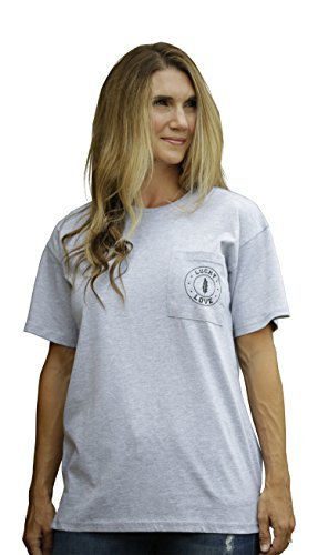 Relaxed Crew T-shirt Love (Lucky Love Graphic Short Sleeve T Shirt for Women & Plus Size - Relaxed Fit & Longer Length (2XL, Grey Short Sleeve))