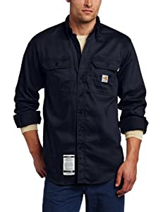 B005XZT4XQ Carhartt Men's Big & Tall Flame Resistant Lightweight Twill Shirt,Dark Navy,X-Large Tall
